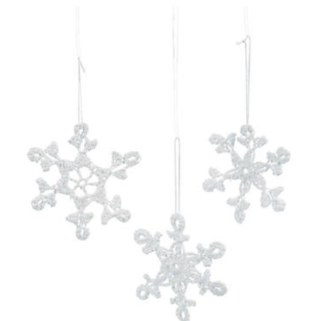"""Crocheted Snowflakes, Set of 12 Cotton Glittery 3"""" Ornaments"""