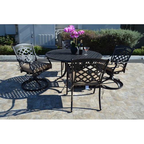 Fleur De Lis Living Wildermuth 5 Piece Rocker Dining Set with Cushions
