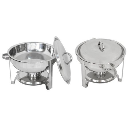 Zeny 2 Pack Chafing Dish Set, Buffet Catering, Stainless Steel Food Warmer, Round
