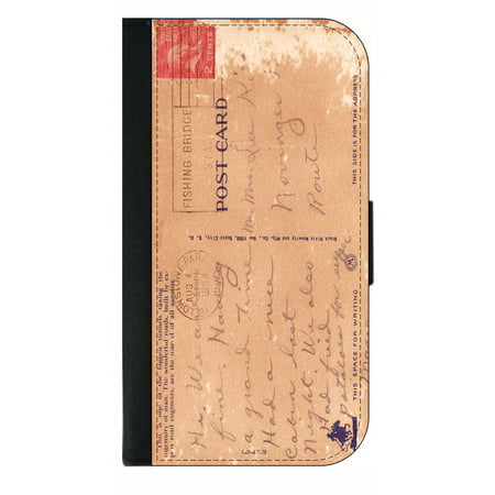 Vintage Style Post Card - Wallet Flip Style Phone Case Compatible with the Apple iPhone 7 Plus / Apple iPhone 8 Plus (7+,8+) Universal