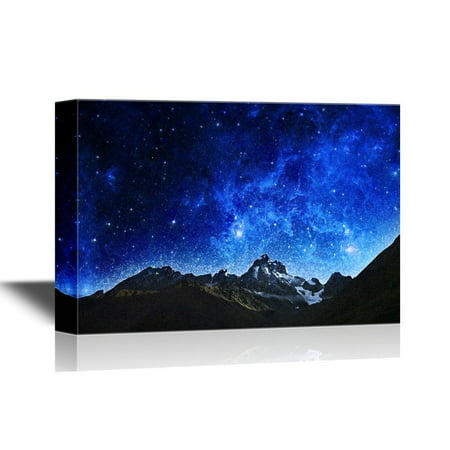 wall26 Canvas Wall Art - Watercolor Painting Style Scenery with Mountains under Starry Night - Giclee Print Gallery Wrap Modern Home Decor | Ready to Hang - 32x48 inches