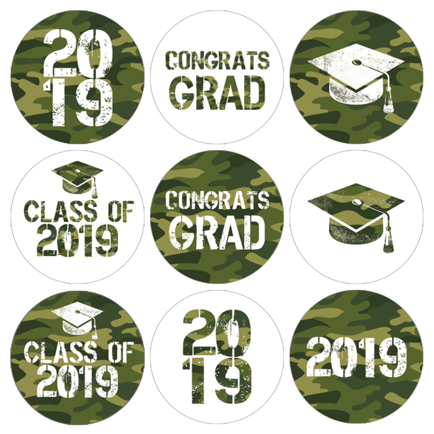 Camo Graduation Party Stickers   216 ct   Army Green Class of 2019 Favor Labels