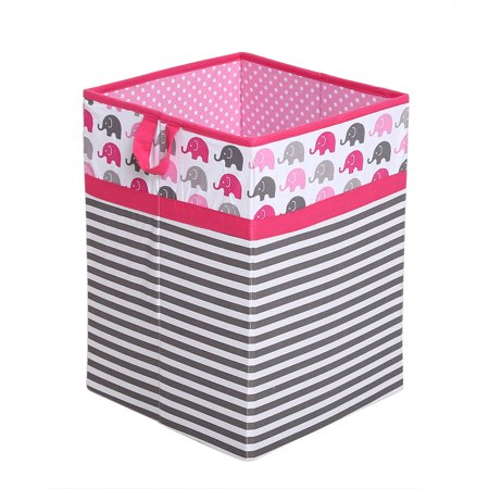 Bacati - Elephants Pink/Gray Cotton Percale Fabric covered Storage, Collapsible Hamper, 18 H x 13 W x 13 L (Covered Hamper)