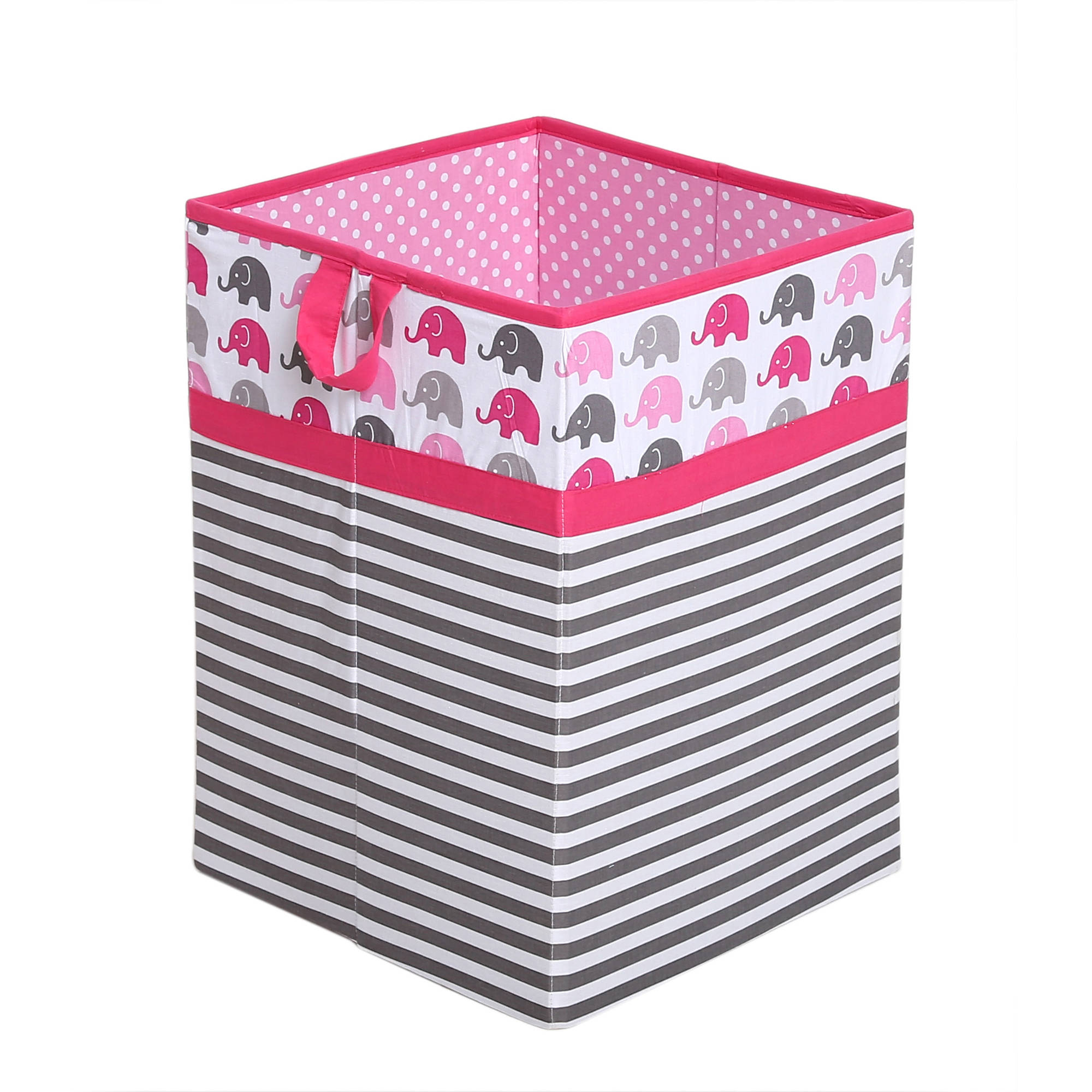 Bacati - Elephants Pink/Gray Cotton Percale Fabric covered Storage, Collapsible Hamper, 18 H x 13 W x 13 L inches