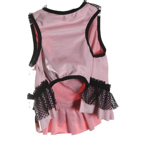 Pet Girl Dog's Fashion Faux Fur Heart Dress With Lace Trim Pink X-Small ()
