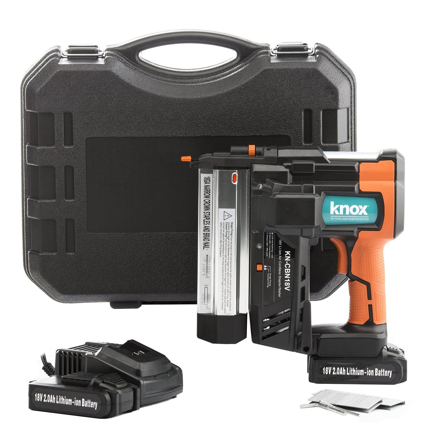 Knox Gear Cordless 18V Li-Ion 2-Inch 18-Gauge Brad Nailer & Stapler w  2 Batteries by Knox