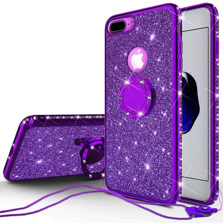 quite nice d39a6 7672c Apple iPhone 7 Plus Case, Glitter Cute Phone Case Girls with Kickstand,  Bling Diamond Rhinestone Bumper Ring Stand Sparkly Luxury Clear Thin Soft  ...