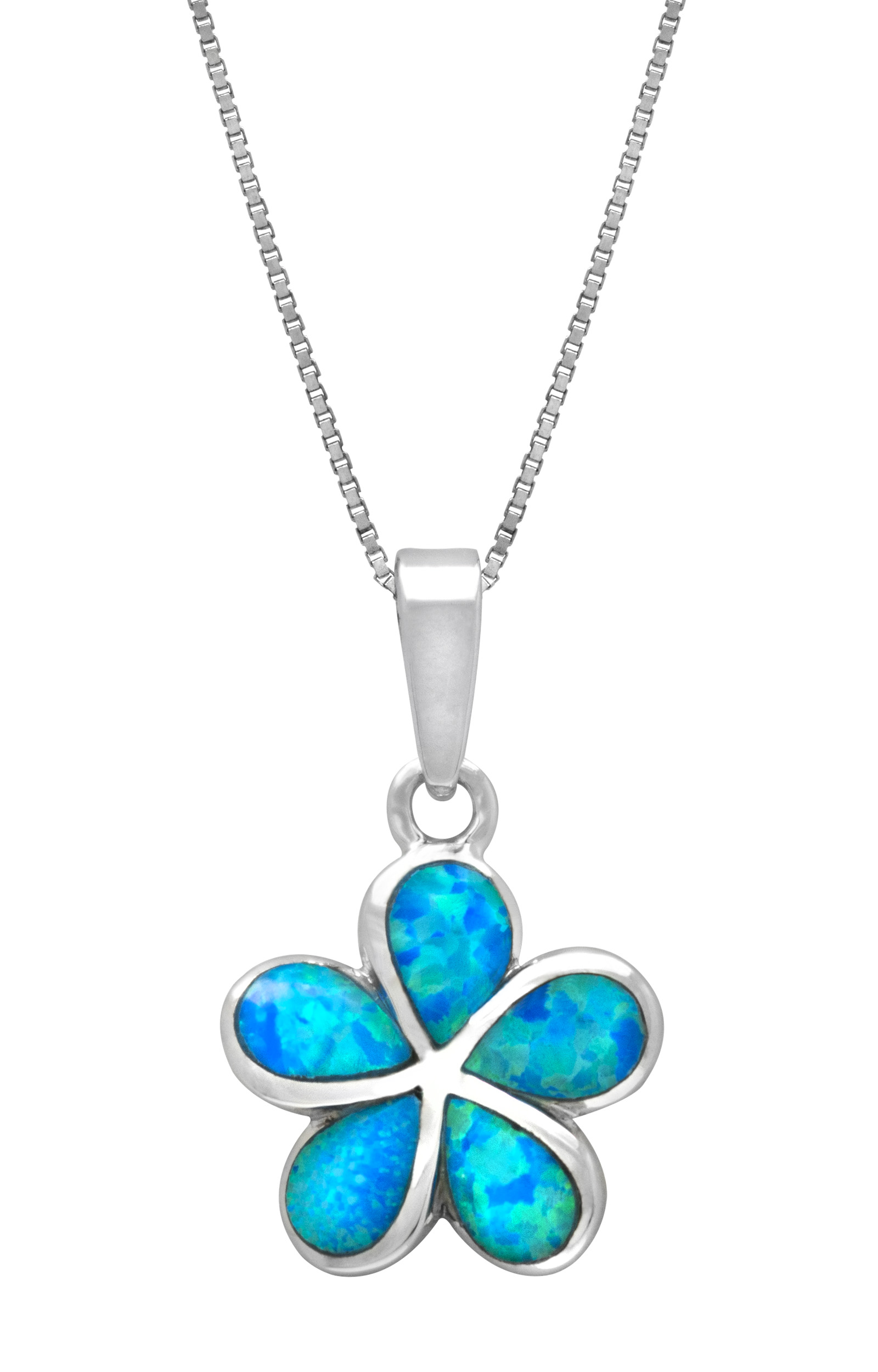 Sterling Silver Plumeria Flower Necklace Pendant with Synthetic Blue Opal by