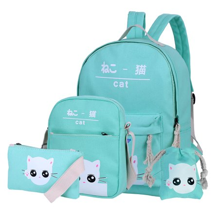 Dakine Girls Backpack (Vbiger Chic Canvas Backpack Set 4-in-1 Shoulder Bags Casual Student Daypack for Girls & Boys, Cute Cat Pattern, Light Green )
