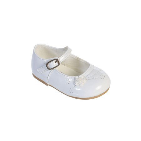 Black Patent Leather Girls Shoes (Little Girls White Flower Applique Patent Leather Mary Jane)
