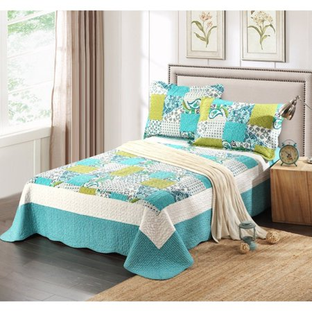 Spring Pond 3 Piece Patchwork Quilt Set by Tache Home -