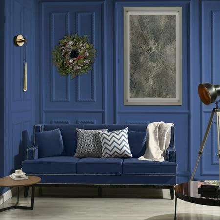 Modern Soft Velvet Fabric Sofa with Nailhead Trim Details, Royal Blue
