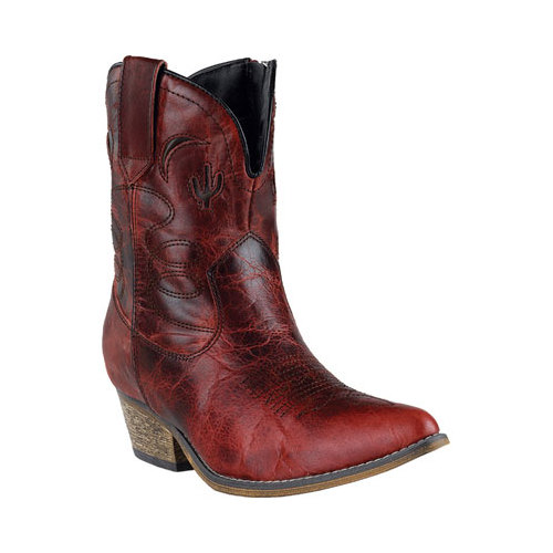 Dingo Fashion Boots Womens Adobe Rose Zip Red Distressed DI 695 by Dingo