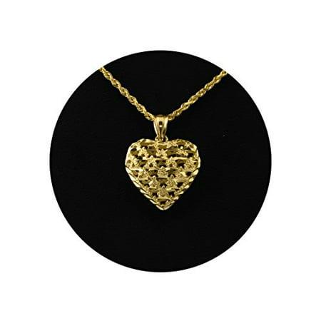 LoveBling 10K Yellow Gold Diamond Cut Heart Charm Pendant (0.92