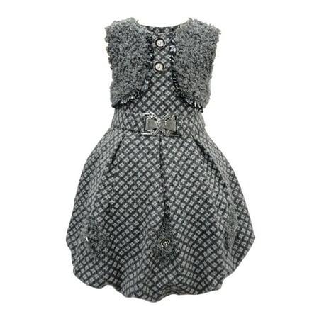 Little Girls Grey Tonal Rhomb Pattern Tie Sash Button Fuzzy Bolero Dress 4