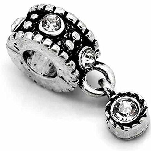 Dangle Bead W/clear  Rhinestones April Birthstone European Bead Compatible for Most European Snake Chain Bracelet