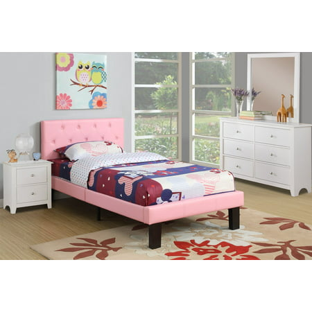 Modern Pink Faux Leather Tufted Twin Platform Bed