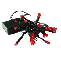 Sienna Set of 20 Battery Operated Red LED Wide Angle Christmas Lights - Green Wire