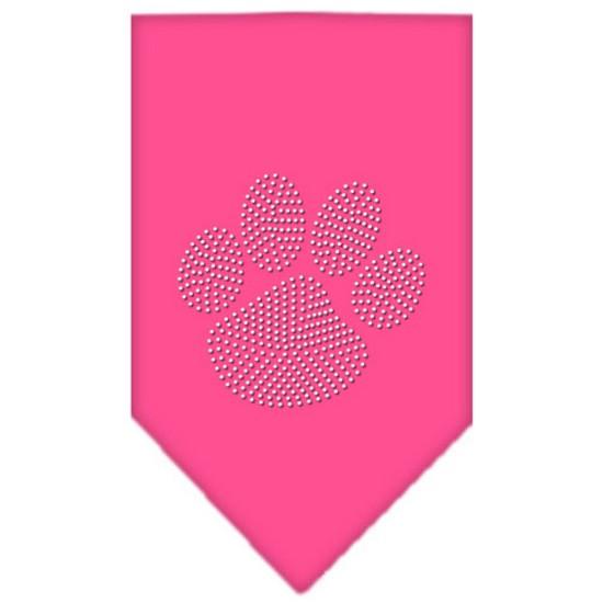Paw Clear Rhinestone Bandana Bright Pink Large