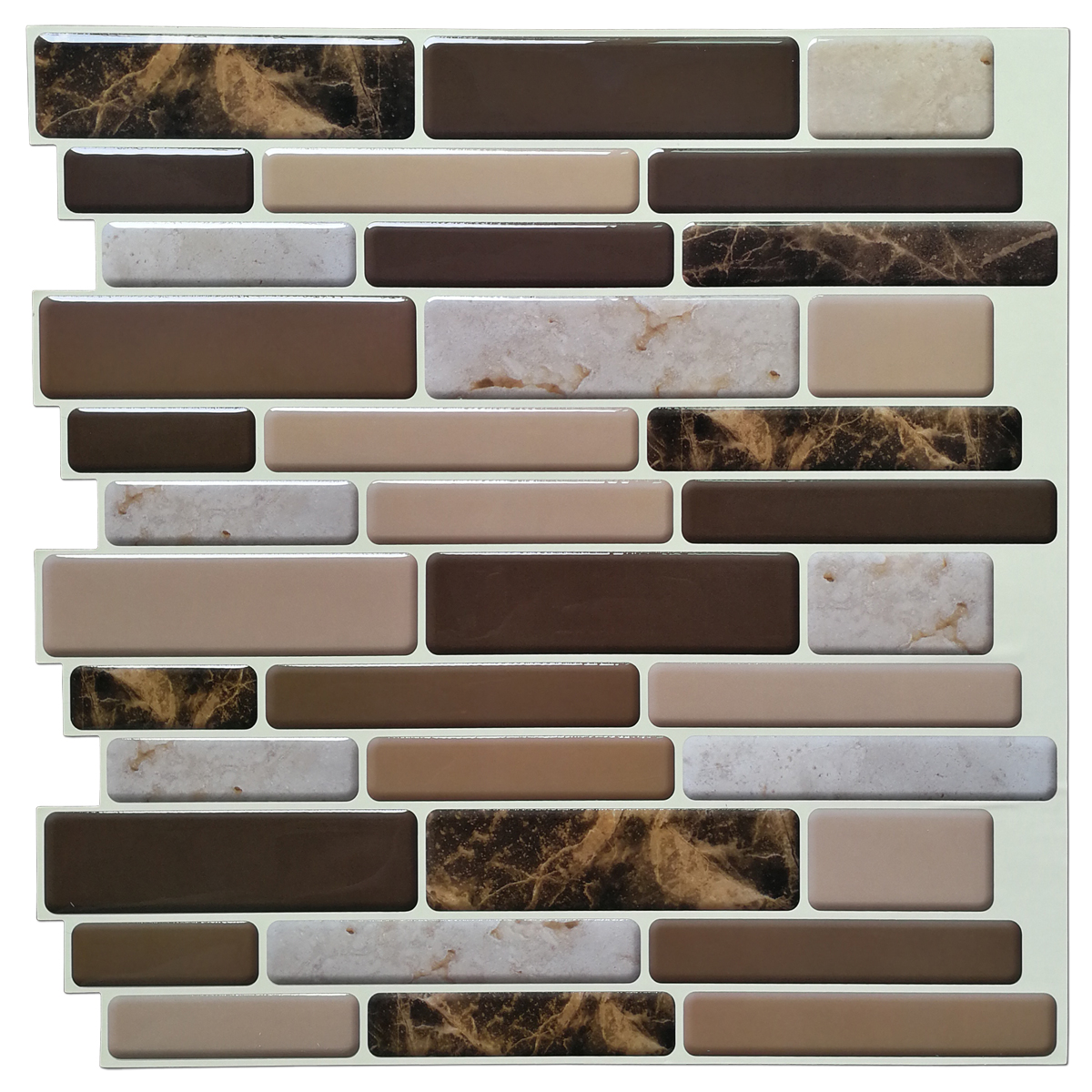 Self Adhesive Wall Tile Peel and Stick Backsplash for Kitchen, Marble Design (10 Tiles)