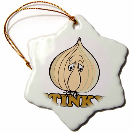 3dRose Funny Stinky Garlic Face Food Humor - Snowflake Ornament, 3-inch