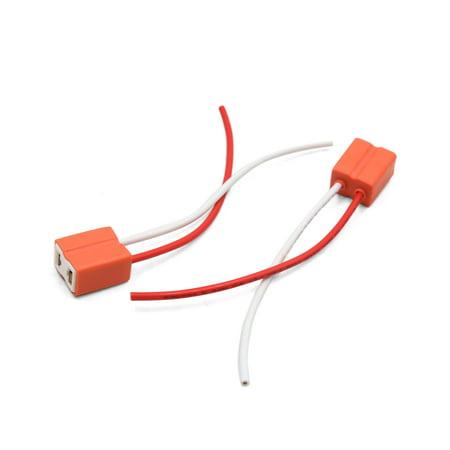 2pcs orange h7 ceramic wiring harness headlight fog light bulb socket for  car - image 2
