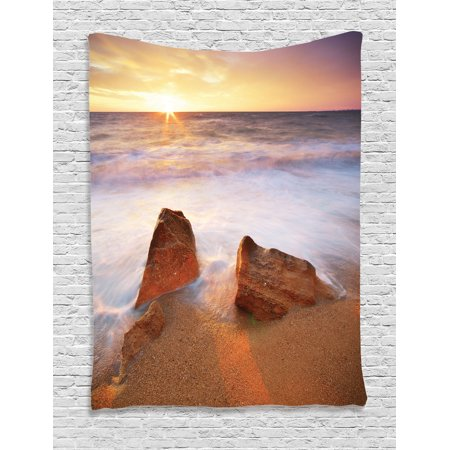 Seaside Decor Wall Hanging Tapestry, Fantasy Seascape In Exotic Hawaiian Water Sea Sky Peace Relax Theme In The Nature Print, Bedroom Living Room Dorm Accessories, By Ambesonne (Hawian Theme)