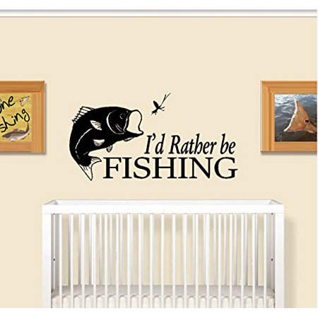 Decal ~ I'd rather be FISHING #2 ~ WALL DECAL 18