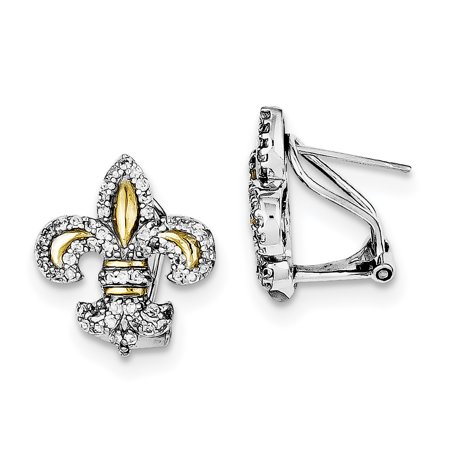 Sterling Silver & Vermeil Fleur de Lis Cubic Zirconia Omega Back Earrings