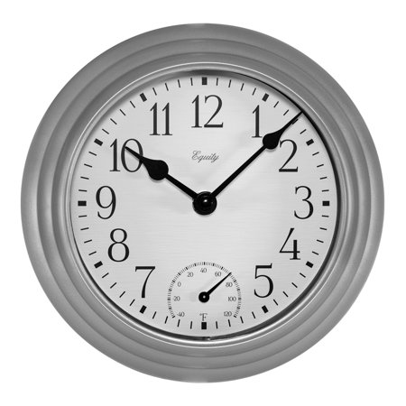 Equity by La Crosse 29007 8 Inch In/Out Thermometer Basics Silver Quartz Wall Clock ()