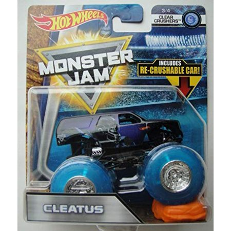 Jam Crusher - Hot Wheels Monster Jam Cleatus Clear Crushers with Re-Crushable Car 1:64 Scale Monster Truck