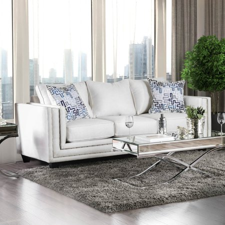 Ivory Couch (Furniture of America Carlyle Ivory Chenille Nailhead Sofa )