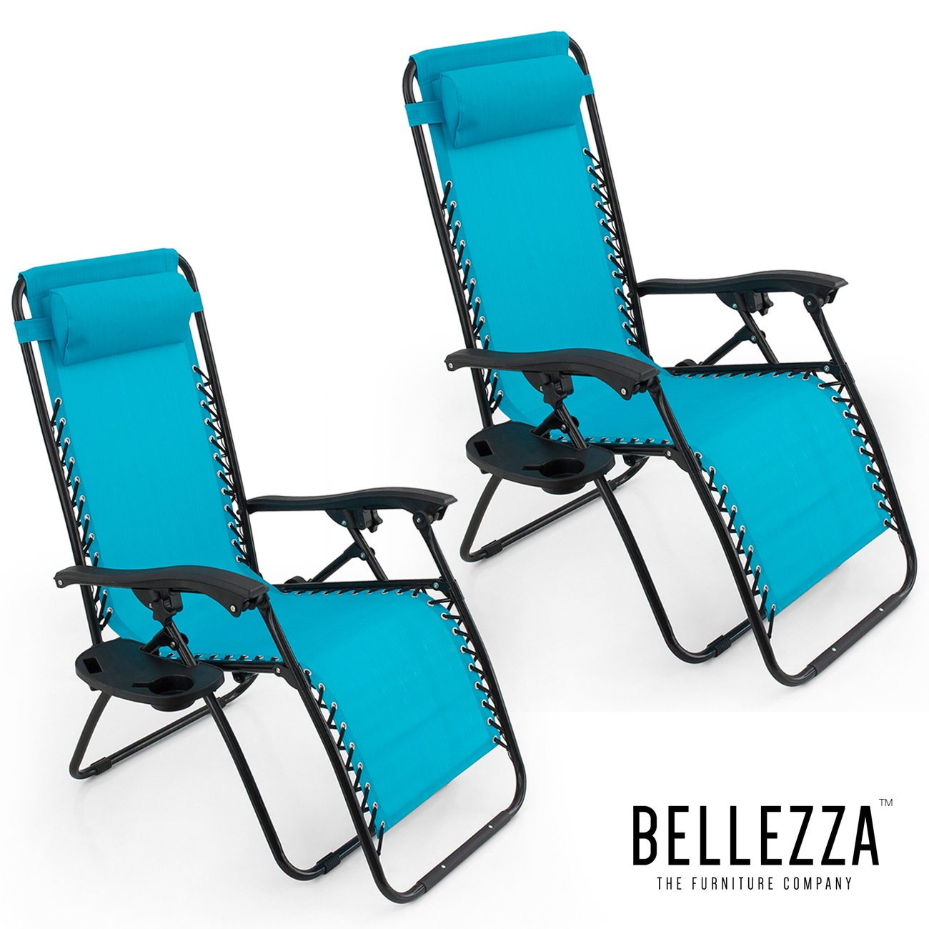 BELLEZE Anti Gravity Chair Set of 2 Adjustable Recliner Chair Tray with Mobile Device Holder Sky Blue Padded - Walmart.com  sc 1 st  Walmart & BELLEZE Anti Gravity Chair Set of 2 Adjustable Recliner Chair Tray ...