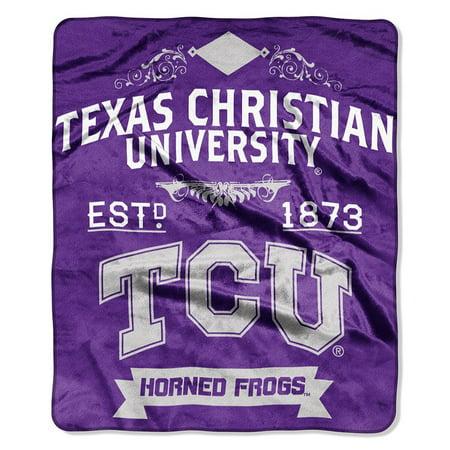 TCU Texas Christian Horned Frogs 50x60 inch NCAA Label Design Royal Plush Raschel Blanket Throw