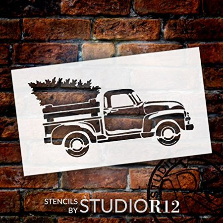 Little Red Truck With Christmas Tree Stencil - Choose Size (12