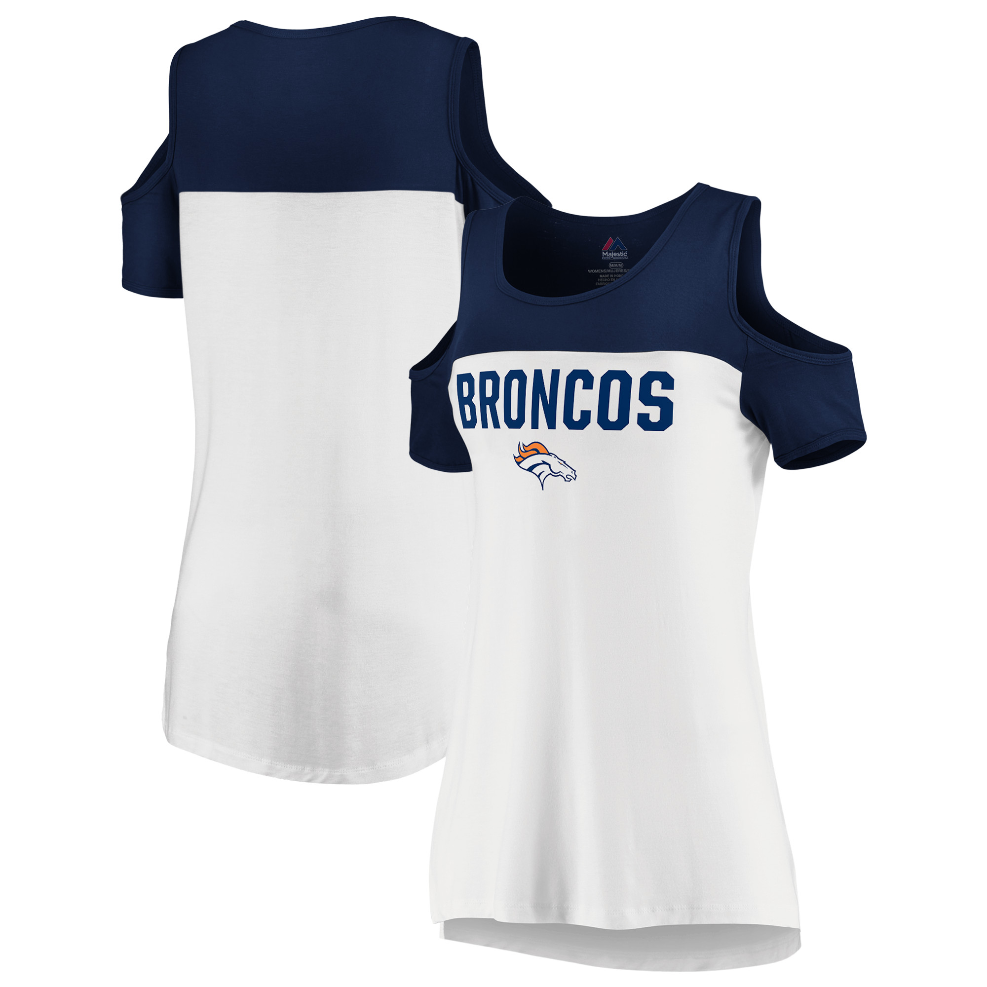 Denver Broncos Majestic Women's Pure Dedication Open Shoulder T-Shirt - White/Navy