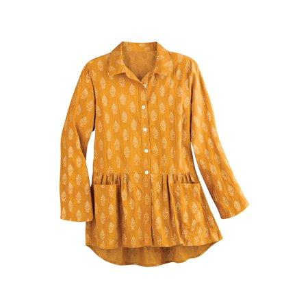 April Cornell Women's Golden Sun Flounce Tunic - Button Front Collared Blouse April Cornell Pot Holders