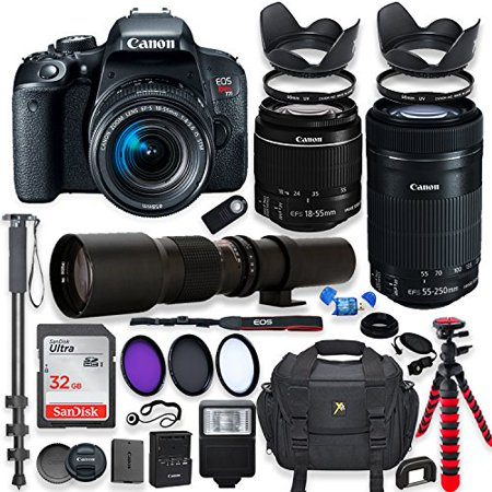 Canon EOS Rebel T7i DSLR Camera with 18-55mm STM Lens Bundle +Canon EF-S 55-250mm f/4-5.6 IS STM Lens and 500mm Preset Lens + 32GB Memory + Filters + Monopod + Spider Tripod + Professional