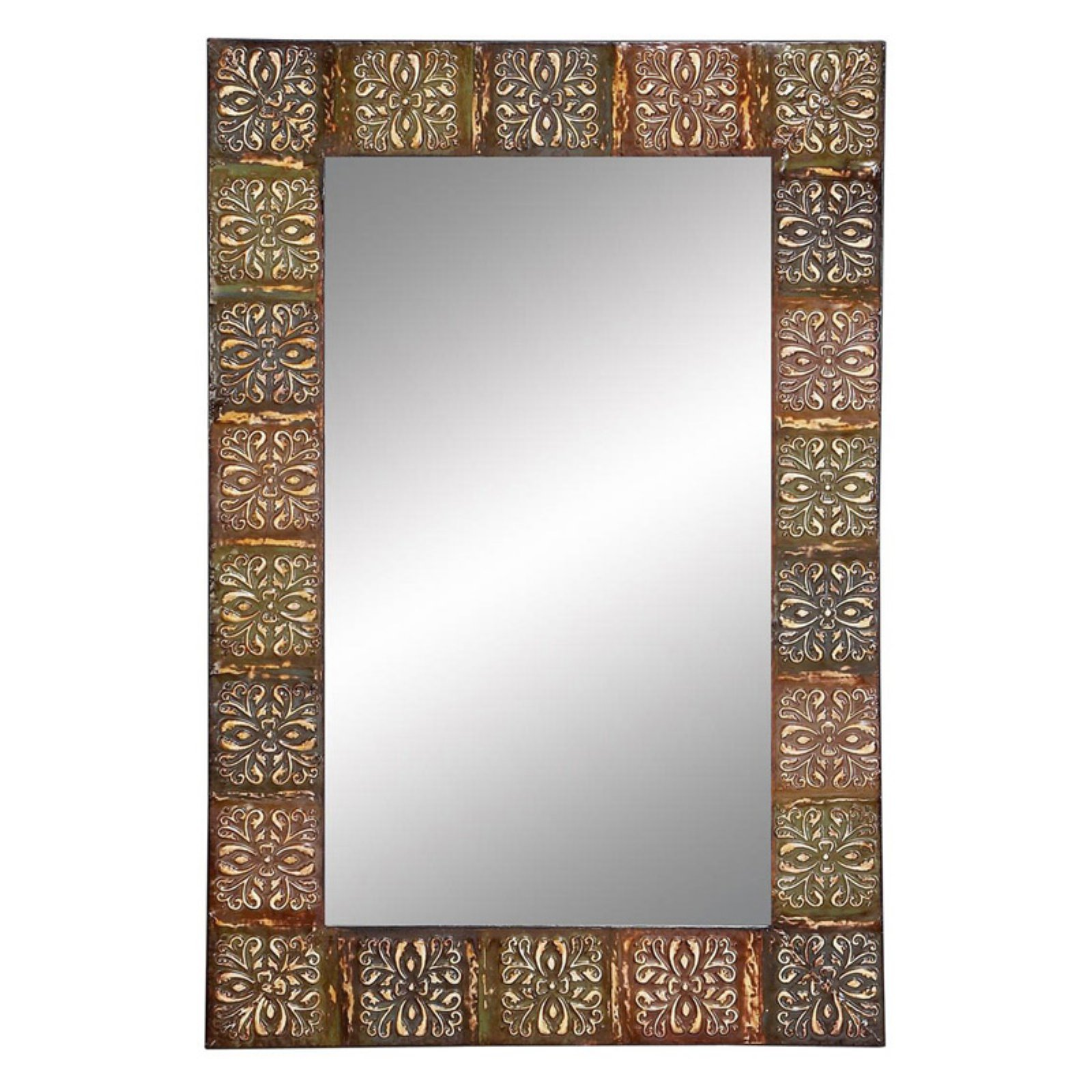 """Classic Floral Metal Wall Mirror by Decmode 36""""x24"""""""