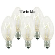Queens of Christmas WL-C7-C-TW Clear Twinkling C7 E12 Base Incandescent Replacement Bulbs - Pack of 25