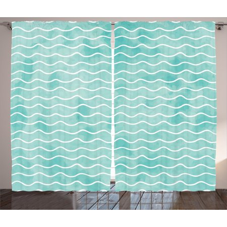 Nautical Curtains 2 Panels Set, Soft Pastel Colored Ocean Sea Waves Pattern Summer Vibes Inspired Graphic, Window Drapes for Living Room Bedroom, 108W X 90L Inches, Turquoise White, by Ambesonne