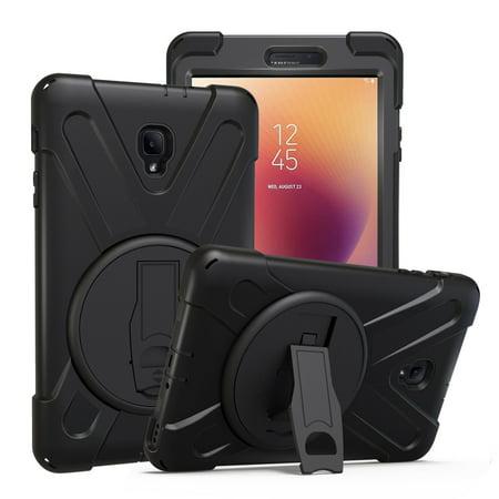 Hybrid Protective Shield Case Cover w/ Palm Handstrap by KIQ for Samsung Galaxy Tab A 8.0 2017 SM-T380 SM-T385 (Black) ()