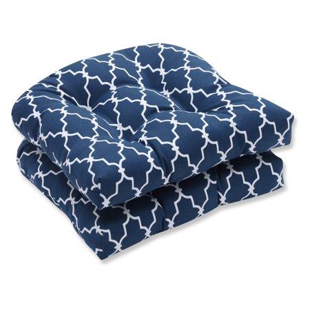 Pillow Perfect Outdoor/ Indoor Garden Gate Navy Wicker Seat Cushion (Set of 2) ()
