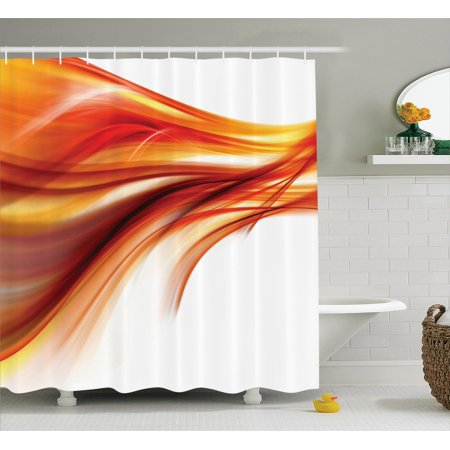 Abstract Home Decor Shower Curtain Set, Modern Contemporary Abstract Smooth Lines Blurred Smock Art Flowing Rays, Bathroom Accessories, 69W X 70L Inches, By Ambesonne ()