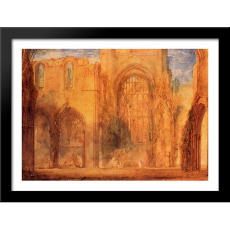 Interior of Fountains Abbey, Yorkshire 38x28 Large Black Wood Framed Print Art by Joseph Mallord William Turner