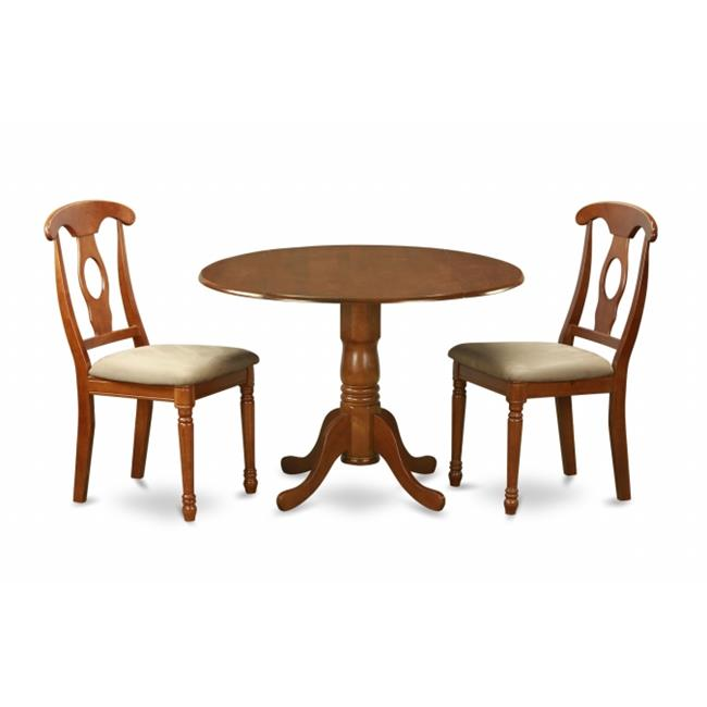 East West Furniture DLNA3-SBR-C 3PC Kitchen Round Table with 2 Drop Leaves and 2 Chairs with cushioned Seat