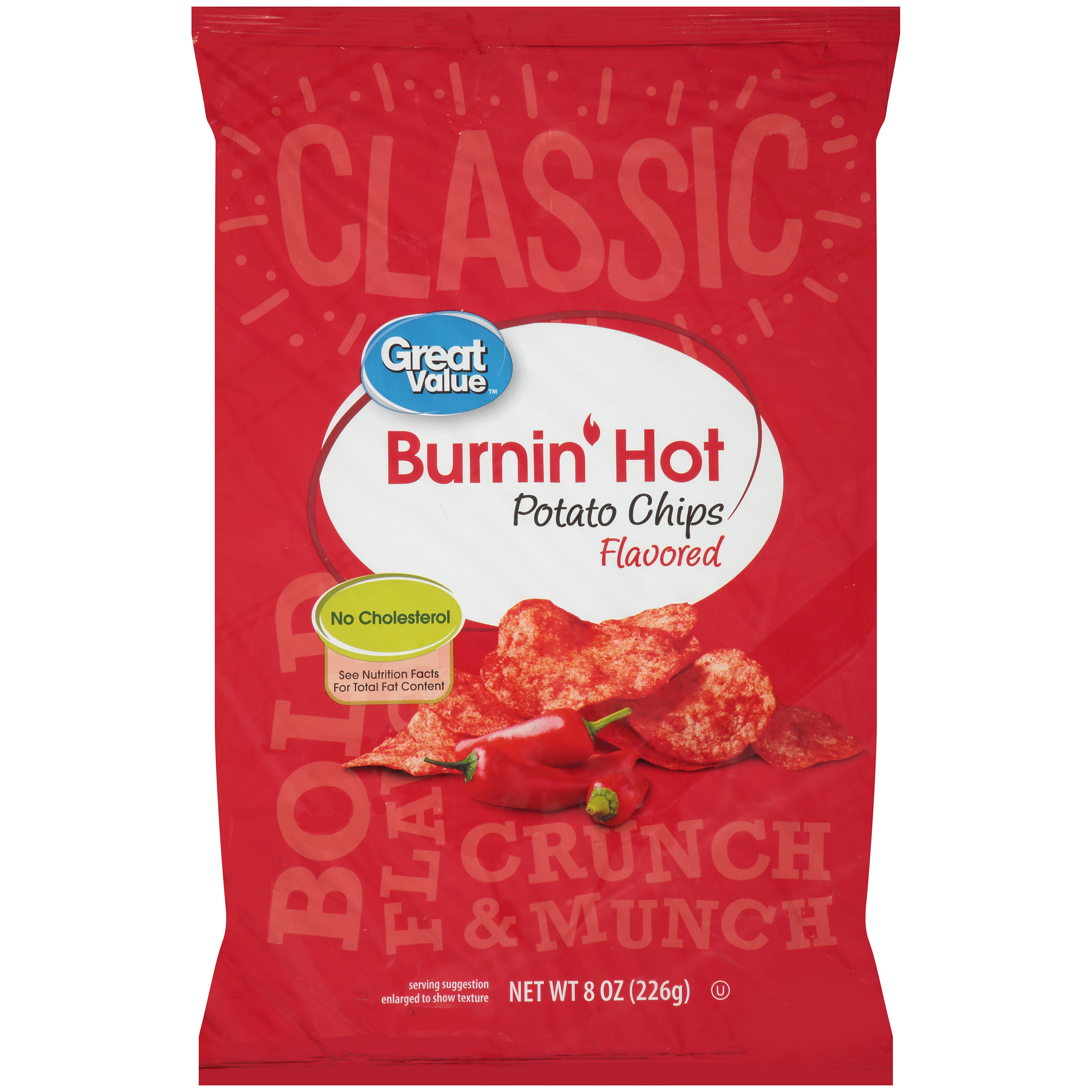 Great Value Burnin' Hot Potato Chips, 8 Oz