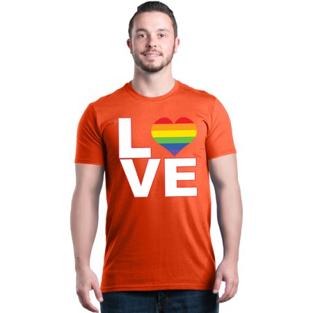 Shop4Ever Men's Love Rainbow Heart LGBTQ Gay Pride Graphic T-shirt