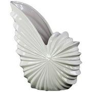 Ceramic Shell Flower Pot - White