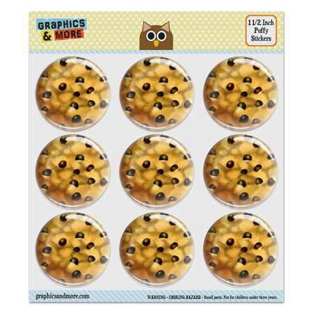 Chocolate Chip Cookie Puffy Bubble Dome Scrapbooking Crafting Stickers - Set of 9 - 1.5